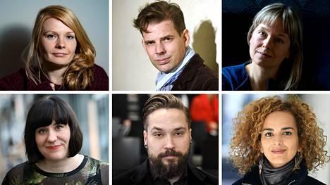 Saara Turunen (vas. ylh.), Alex Schulman, Pauliina Vanhatalo, Marjo Niemi (vas. alh.), Jukka Viikilä ja Leila Slimani.