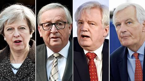 Theresa May, Jean-Claude Juncker, Michel Barnier ja David Davis