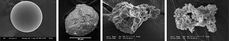 Tiny particles of space dust recovered from snow layers in central Antarctica. (
