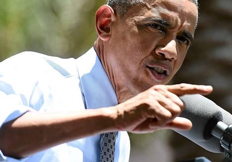 Yhdysvaltain presidentti Barack Obama puhui talousasioista vierailullaan Los Angelesissa torstaina.