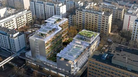 Rakennuksen katolle suunnitellaan kasvihuoneita. Kasvihuoneen antimia käytettäisiin samassa talossa sijaitsevassa lounasravintolassa.