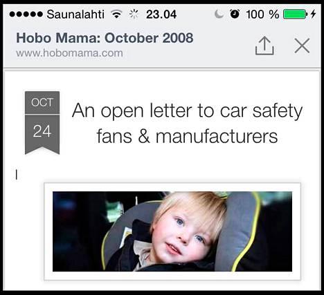 Kuvakaappaus on yhdysvaltalaisen äidin blogista. Blogissa hän kiittelee Britax-turvaistuinvalmistajaa suloisten ruotsalaislasten kuvista.