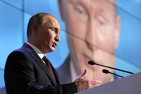 Vladimir Putin puhui Valdai-kokouksessa Novgorodissa torstaina.