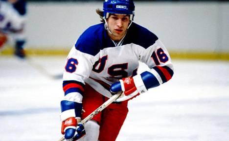 Mark Pavelich kuvattuna 9. helmikuuta 1980.