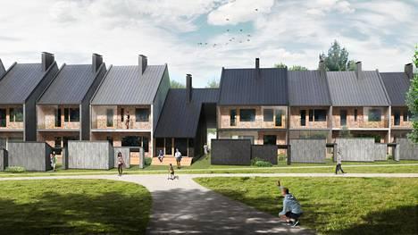 Havainnekuva asuntomessualueelle tulevasta Trä Kronorin puurakenteisesta town-housesta.