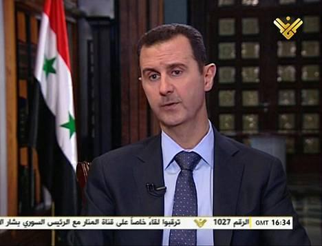 Syyrian presidentti Bashar Al-Assad puhuu Libanonin shiiamuslimipuolueen Hizbollahin al-Manar TV-ohjelmassa.