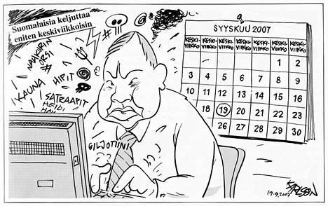 """""""Pitkäaikainen pääministeri ja eduskunnan puhemies Lipponen oli äreä mies."""" Piirros ilmestyi Helsingin Sanomissa 19.9.2007."""