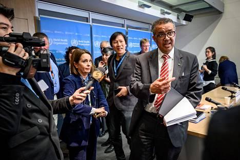 Maailman terveysjärjestö WHO:n pääjohtaja Tedros Ghebreyesus Genevessä keskiviikkona.