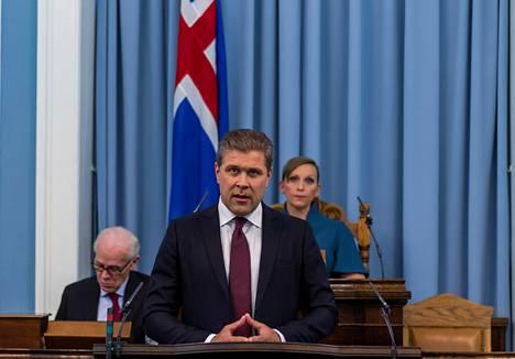 Pääministeri Bjarni Benediktsson puhui parlamentissa Reykjavíkissa keskiviikkona.