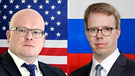 Mikko Hautala (vas.) on entinen Moskovan-suurlähettiläs ja tuleva Washingtonin-suurlähettiläs. Antti Helanterä seuraa Mikko Hautalaa Moskovan-suurlähettiläänä.