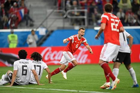 Kisaisäntä Venäjä on voittanut tähän mennessä molemmat ottelunsa jalkapallon MM-kilpailuissa. Tiistai-iltana kaatui Egypti.