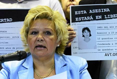 Terrorismin uhrien järjestön johtaja Angeles Pedraza kertoi Ines Del Rio Pradan vapauttamisesta tiedotustilaisuudessa tiistaina.