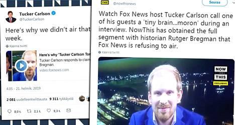 Tucker Carlsonin (vas.) ja Rutger Bregmanin väittely äityi nettihitiksi.