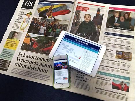 Helsingin Sanomien kaikkien tilausten määrä kasvoi viime vuoden aikana 1,7 prosenttia.