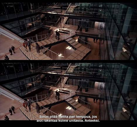 Inception-elokuvan hetki, jossa teksti helposti vie huomion kuvan kokonaisuudelta.