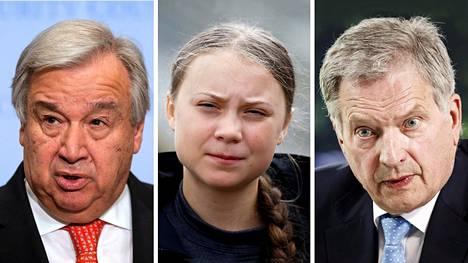YK:n pääsihteeri António Guterres, ilmastoaktivisti Greta Thunberg ja Suomen presidentti Sauli Niinistö.