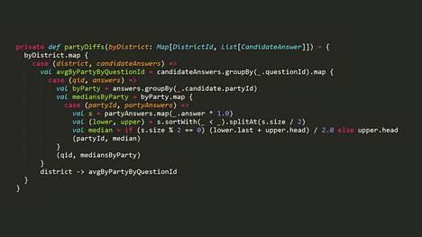 HS:n vaalikoneen uuden algoritmin mediaanin laskeva osuus Scala-ohjelmointikielellä.