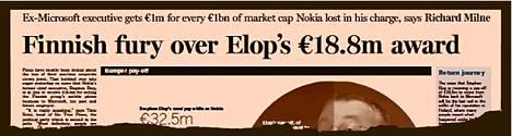 Financial Times raportoi suomalaisten reaktioista Elopin palkkioon.