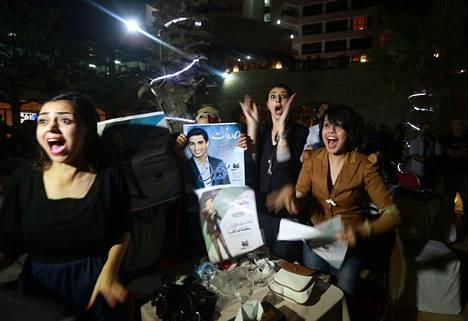 Mohammed Assafin Idols-voitto veti ihmisiä katujuhliin Gazan kaupungissa lauantai-iltana.