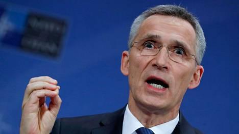 Naton pääsihteeri puhui tiedotustilaisuudessa Brysselissä torstaina.