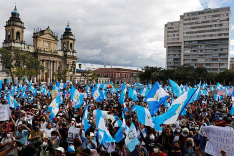 Demonstration against President Alejandro Giammatte in the city of Guatemala on Saturday.