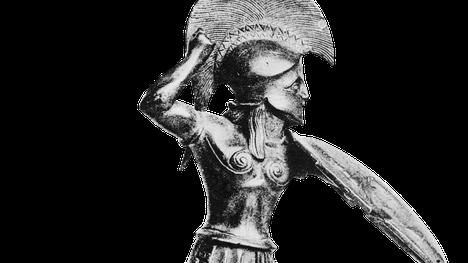 Antiikin kreikkalainen hopliittia eli jalkaväkisotilasta esittävä patsas. Kädessä lienee alun perin ollut keihäs.