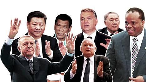 Nämä miehet johtavat maitaan enemmän tai vähemmän itsevaltaisin ottein: Turkin Recep Tayyip Erdoğan (vas.), Kiinan Xi Jinping, Filippiinien Rodrigo Duterte, Unkarin Viktor Orbán, Puolan Jarosław Kaczyński, Kazakstanin Nursultan Nazarbajev ja Swazimaan Mswati III.
