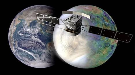 Venus ja Maa ovat lähes saman kokoisia. Venukseen lentää kolme eri luotainta 2020-luvun lopulla. Edessä Esan tuleva luotain. Taiteilijan näkemys.