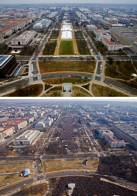 Yllä Trumpin yleisö 2017 ja Obaman yleisö 2009.