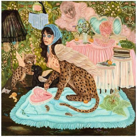 Emma Ainalan A Room of one's own is crowded (2021, öljy kankaalle) on hurja teos Virginia Woolf -viittauksineen.