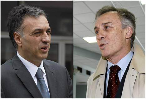 Montenegron istuva presidentti Filip Vujanovic ja haastaja Miodrag Lekic (oikealla).