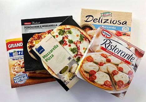 HS-testissä oli mukana viisi mozzarellapizzaa, joita myydään yleisesti isoissa kaupoissa.