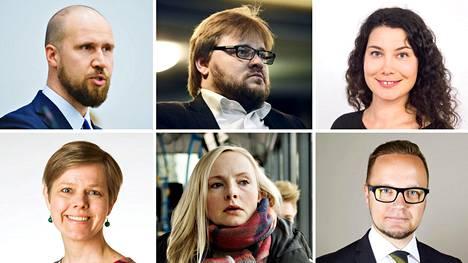 Vihreiden puheenjohtajaehdokkaat vasemmalta ylhäältä: Touko Aalto,
