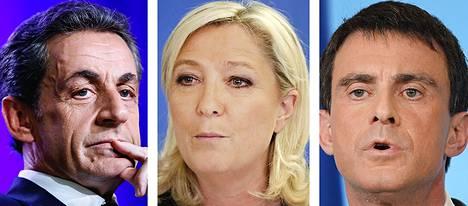 Nicolas Sarkozy, Marine Le Pen, Manuel Valls.