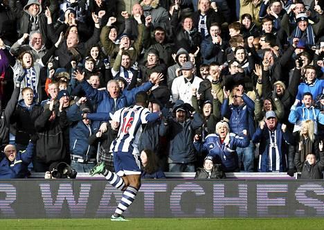 Victor Anichebe juhli tasoitusmaalia myös viikko sitten Liverpoolia vastaan.