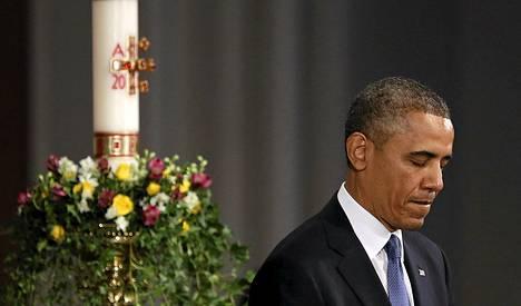Barack Obama otti osaa muistohartauteen Bostonissa.
