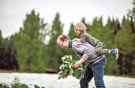 Kimppapeltoa viljelevä Janne Kilpinen teki tällä kertaa työt kyssäkaalipellolla. Jalo, 4, toimi työnjohtotehtävissä.