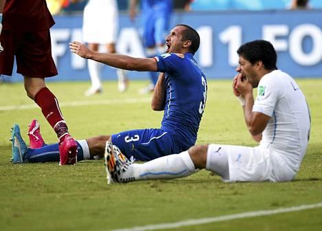 Italian Giorgio Chiellini piteli olkapäätään ja Uruguayn Luis Suárez hampaitaan tiistain ottelussa.