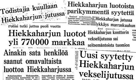 Otsikoita Helsingin Sanomissa 1970–1972.