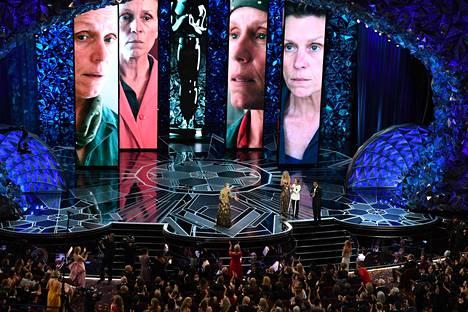 Näyttelijä Frances McDormand piti kiitospuheen Oscar-gaalassa viime maaliskuussa.