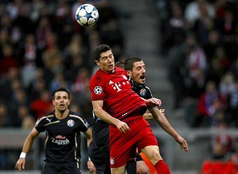 Bayern Münchenin Robert Lewandowski oli vaikea pideltävä Dinamo Zagrebin puolustukselle.