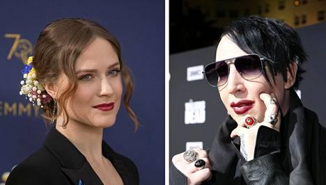 Evan Rachel Wood (vas.) ja Marilyn Manson. Kuvat vuosilta 2018 ja 2019.