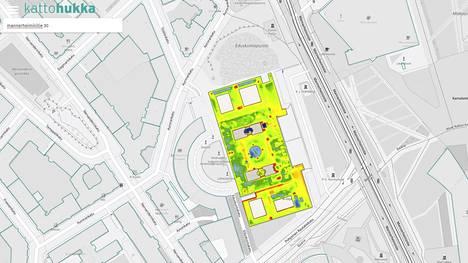 Eduskuntatalon lämmönhukan vuonna 2015 näyttävä kuva on peräisin Helsingin kaupungin ja Helsingin seudun ympäristöpalveluiden uudelta Kattohukka-sivustolta. Keltainen ja vihreä väri tarkoittavat, että katto päästää läpi suhteellisen paljon hukkalämpöä.