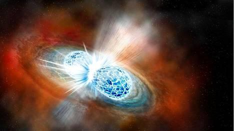 Havainnekuva kahden neutronitähden törmäyksestä.