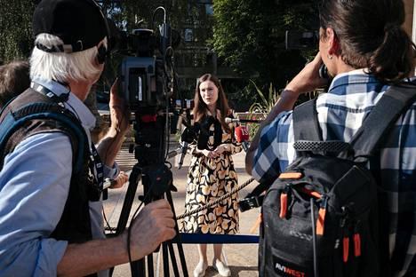 Pääministeri Sanna Marin (sd) antoi haastattelua Säätytalolla kesäkuun puolivälissä.