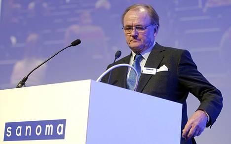 Antti Herlin Sanoman yhtiökokouksessa Helsingissä huhtikuussa.