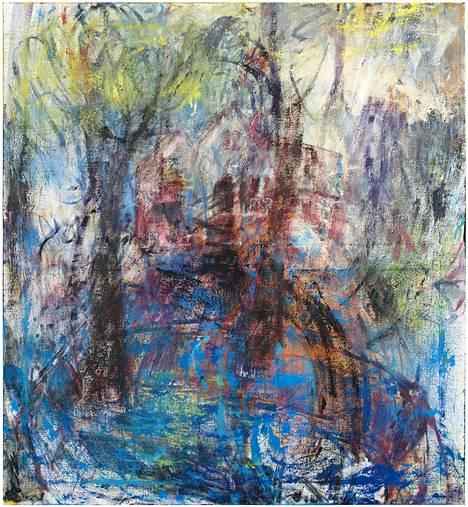 Anna Retulaisen maalauksessa Koti (2017) voi erottaa paitsi talon myös henkilön ääriviivat. – Yksityiskohta teoksesta.