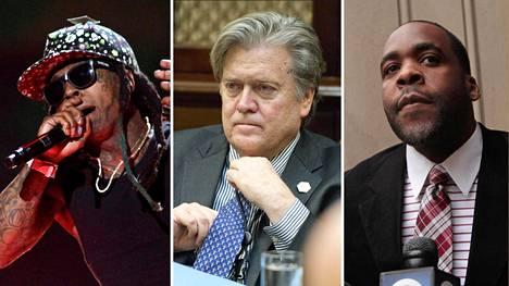 Trumpin armahtamien joukossa ovat muun muassa rap-artisti Lil Wayne (vas.), entinen neuvonantaja Steve Bannon ja Detroitin entinen pormestari Kwame Kilpatrick.