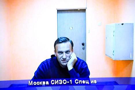 Aleksei Navalnyi puhui oikeudenkäynnissä videolinkin välityksellä 28. tammikuuta.