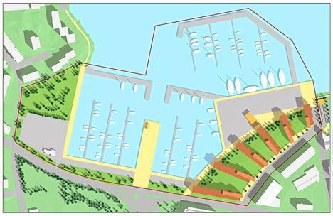 Lauttasaaren Lohiapajalahteen suunnitellaan uusia asuintaloja. Lauttasaarentielle päättyvä Meripuistotie kulkee kuvan vasemmassa laidassa